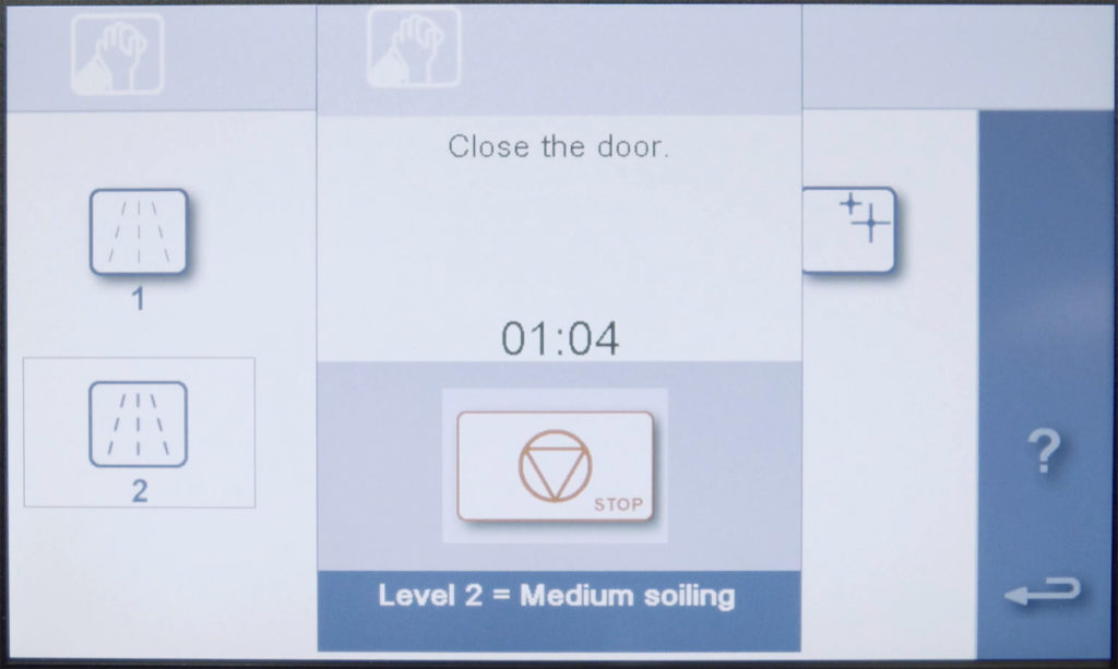 Convotherm oven cleaning timer display